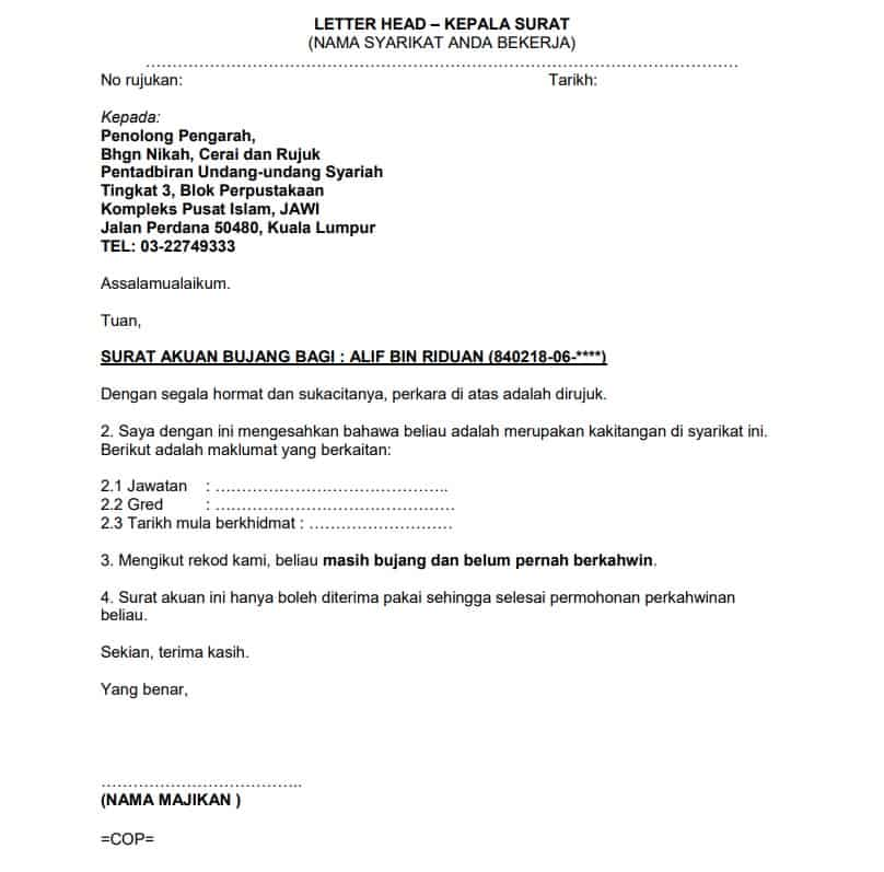 Contoh Surat Pengesahan Pelajar Contoh Surat Akuan Bujang Negeri Terengganu Contoh Surat Ensure That The Information Needed In The Form Is Complete Prior To Submitting It To The Igs Office